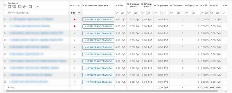На странице объявлений кампании вы можете массово редактировать объявления и запускать автоматическое управление ставками ВКонтакте.