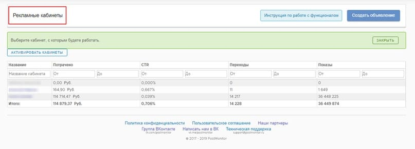 Отображается список подключенных кабинетов ВКонтакте и общая статистика по ним.